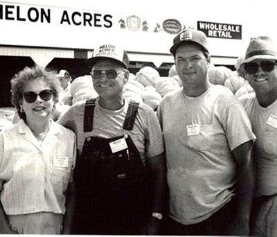 The first and second generations of Melon Acres: Frieda & Abner, Mike, and Mitch Horrall.